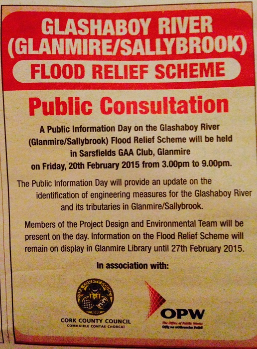 Glashaboy River OPW Flood Relief Scheme Public Consultation Notice